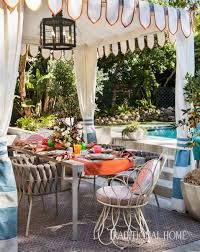 poolside dinner party traditional home
