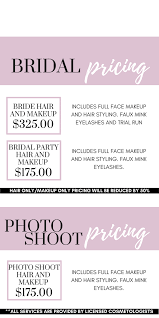 bridal hair prices behrens artistry hair and makeup pricing and services