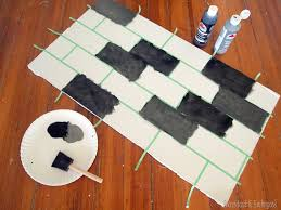 painted backsplash slate subway tiles tutorial how paint faux subway tile backsplash sawdust and embryos