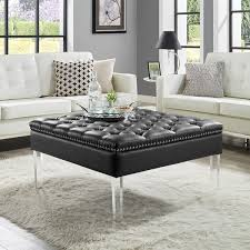 Button Tufted Ottoman Leather Oversized Button Tufted Ottoman Coffee Table Free