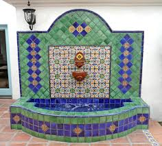 outdoor fountain with mexican tiles and succulents cactus wall fountain using mexican tiles by kristiblackdesigns com