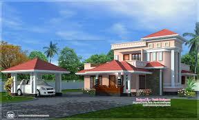 Kerala Home Design Tiles House Exterior With Separate Car Porch House Design Plans