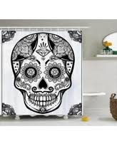 Sugar Skull Bathroom Cyber Monday Savings On Day Of The Dead Decor Shower Curtain