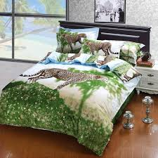 Queen Size White Duvet Cover New Arrival Leopard Oil Painting Bedding Sets Bedspreads Egyptian
