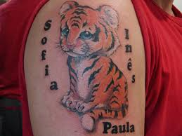 tiger and kids name tattoo design pic tattoomagz