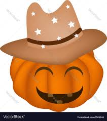 a happy halloween pumpkin in cowboy hat royalty free vector
