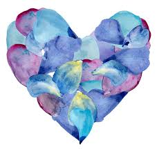 Blue And Purple Flowers Blue And Purple Petals In Shape Of Heart Watercolor Illustration
