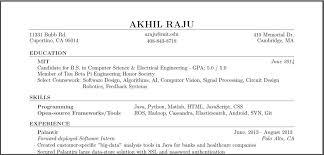 work experience on a resume akhil raju
