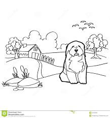 coloring book with dog and landscape stock vector image 55402000