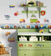 Bedroom Wall Stickers Uk Roommates Repositionable Childrens Wall Sticker Border Transport