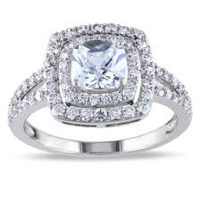 diamond rings zirconia images Sterling silver cushion cut cubic zirconia halo engagement ring jpg