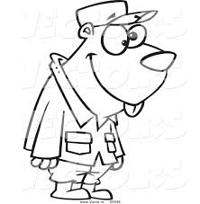 vector of a cartoon military gopher outlined coloring page by