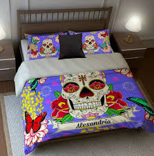 Butterfly Bedding Twin by Sugar Skull Bedding Duvet Cover Set Purple Burst Floral