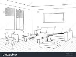home interior furniture sofa armchair table stock vector 440723965