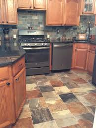 Slate Backsplash In Kitchen Porcelain Slate Tile Kitchen With Ge Slate Appliances Dirty