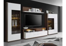 Wohnzimmerschrank Rund Wohnwand Und Sideboard In Weiss Hochglanz Und Schlammeiche Woody
