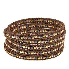 multi metal bracelet images Chan luu mixed metal bead brown leather multi wrap bracelet jpg