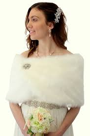 bridal fur shawl wrap ivory faux fur wrap fur shrug free brooch