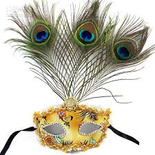 mardi gras mask with feathers luxury fashion party masks with peacock feather pu women