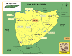 Tennessee On A Map by Van Buren County Tennessee Century Farms