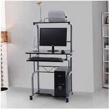 bureau informatique noir bureau informatique sur roulettes avec etagère en haut noir neuf