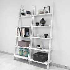 White Contemporary Bookcase by Jasper Leaning Wall Bookcase Set Of 2 Ladder Shelf White