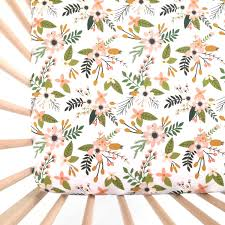 Baby Bedding Crib Sheet Blush Sprigs And Blooms Fitted Crib Sheet Baby