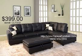 Faux Leather Sectional Sofa Black Faux Leather Sectional Sofa And Storage Ottoman Set