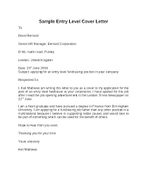 entry level cover letter entry level resume cover letter exles