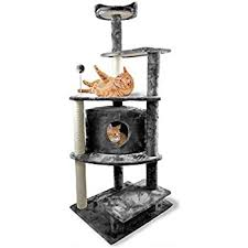 amazon com furhaven tiger tough cat tree house furniture for