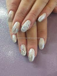 pink and silver glitter fade with swarovski crystals cool finger