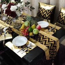 gold table runner and placemats wholesale black gold pu table runner placemat pillow cover