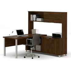 Computer Desk With Hutch by Premium Modern L Shaped Desk With Hutch In Oak Barrel