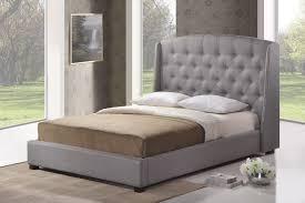 Studded Bed Frame Ipswich Gray Linen Modern Platform Bed King Size Chicago Furniture