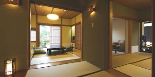 japanese style room with outdoor spring with mt fuji view