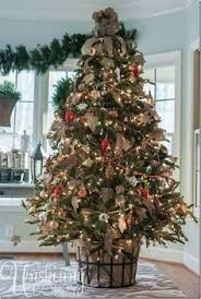 Decorate Christmas Tree With Burlap by Christmas Tree With Burlap Garland In White Gold Silver And