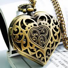 ladies pocket watch necklace images Antique pocket watch heart shape bronze online free shipping best jpg