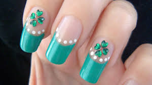 st patrick u0027s day four leaf clover nail art tutorial youtube
