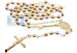 gold rosary 10k three tone gold mens rosary necklace 5 mm 17 inches