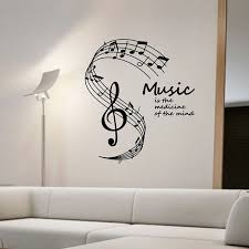 music note home decor music is the medicine of the mind wall stickers musical notes stave