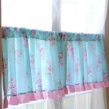 french country blue floral cafe kitchen curtain tier q style