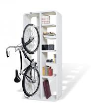 interesting mounted on wall wooden bike rack design with white