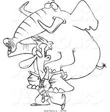 vector of a cartoon businessman giving an elephant a piggy back