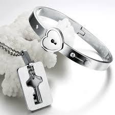 couple necklace key images Heart lock bracelet mens key necklace titanium steel couples jpg