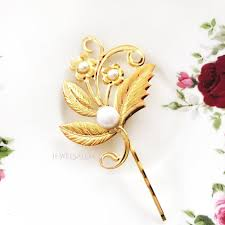 flower hair pins gold bridal hair pin pearl hair pin golden white wedding