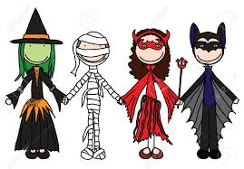 free halloween costumes kids holding hands in halloween costumes royalty free cliparts