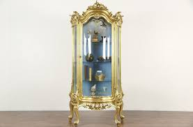 Antique Brass Display Cabinet Gold Leaf Baroque Curved Glass Vintage Curio China Display Cabinet