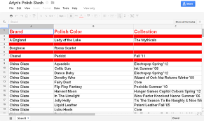 How To Create An Inventory Spreadsheet The Clutter Princess Organizing A Nail Collection