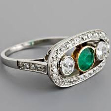 three stone engagement rings antique deco emerald cocktail ring