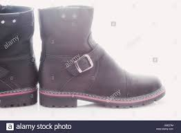 men u0027s winter boots with zipper and locking buckle stock photo